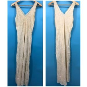 VTG Silk Womens Long Nightgown White Embroidered S
